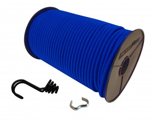 Expanderseil in Blau mit invertiertem Spiralhaken und Seilklemmen