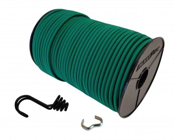 Expanderseil in Grün mit invertiertem Spiralhaken und Seilklemmen