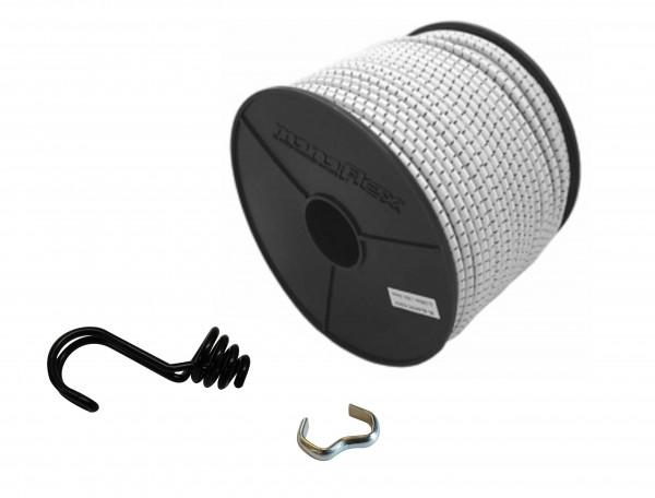 Expanderseil in Weiss Schwarz mit invertiertem Spiralhaken und Seilklemmen