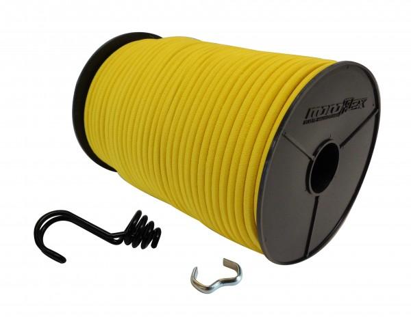 Expanderseil in Gelb mit invertiertem Spiralhaken und Seilklemmen