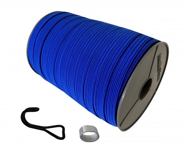 22mm Expanderband Gummiband flach in Blau mit Doppelhaken