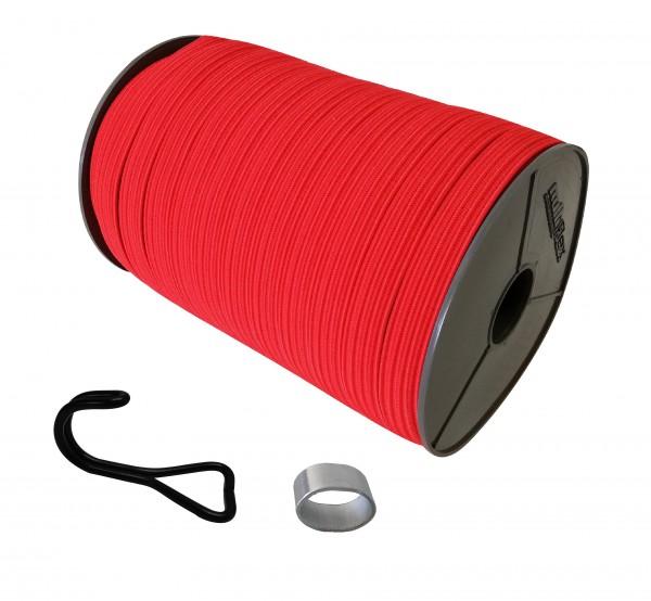 22mm Expanderband Gummiband flach in Rot mit Doppelhaken